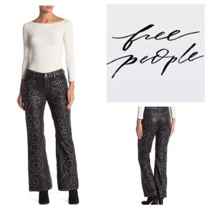 Free People Studded Leather Flare Pants.  NWT.